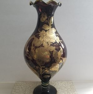 Burgundy and Gold Colored Vase